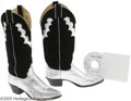Music Memorabilia:Autographs and Signed Items, Holly Dunn Signed Boots and CD. This pair of silver-and-black boots is signed by Texas-based country singer Holly Dunn on th...