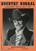 Music Memorabilia:Autographs and Signed Items, Johnny Paycheck Signed Magazine. A 1997 copy of Sweden's KountryKorral country music magazine, signed on the cover by t...