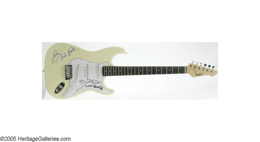 beach boys guitar signed by brian wilson and mike love lot