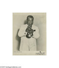 "Music Memorabilia:Photos Signed, Louis Armstrong Signed Photo. A black-and-white 8"" x 10"" signed by the great Satchmo in green ink. In great condition with s..."