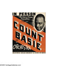 Music Memorabilia:Posters, Count Basie Signed Window Display Card - Also signed by JamesRushing....