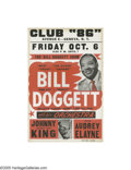 "Music Memorabilia:Posters, Bill Doggett Concert Poster (1961). The versatile jazz keyboardistmade his mark in the rock and roll world with the song ""H..."