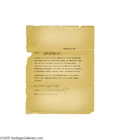 Music Memorabilia:Documents Signed, Billie Holiday Signed Document. Featured is a signed, one-page document, dated 1950, in which Holiday gives permission to Sc...