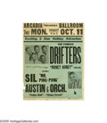 Music Memorabilia:Posters, The Drifters - Arcadia Ballroom Poster (1954). One of the numerous R&B vocal groups that originated in the '50s, the Drifter...