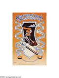 """Music Memorabilia:Posters, Grateful Dead - """"Trip and Ski"""" Concert Poster (1968). Here is awild poster featuring a skeleton on skis, for a series of Gr..."""