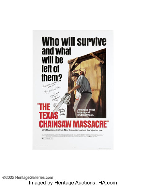Texas Chainsaw Massacre Signed Poster  The godfather of the modern
