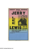 "Music Memorabilia:Posters, Jerry Lee Lewis Poster. Featured is a 1966 ""Shindig"" poster forsinger Jerry Lee Lewis, in great condition with very little ..."