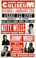 "Music Memorabilia:Posters, Kitty Wells and Johnny Wright - Concert Poster (1968). The ""Queenof Country Music,"" Kitty Wells, stars in this show poster ..."