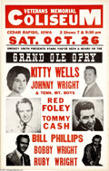 Music Memorabilia:Posters, Kitty Wells - Grand Ole Opry Stars Concert Poster (circa 1968).Kitty Wells headlines this Grand Ole Opry roadshow poster, w...