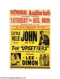 Music Memorabilia:Posters, Little Willie John and the Upsetters - Concert Poster. Poster foran August 16, 1958 show featuring Little Willie John plus ...