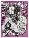 Music Memorabilia:Posters Signed, Rob Zombie - House of Blues, New Orleans Concert Poster dated8/29/05, signed by the Artist (2005). This now-extremely scarc...