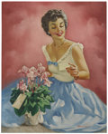 Illustration:Pin-Up, EDWARD D'ANCONA (American 20th Century) . Original pin upillustration . Oil on canvas . 30 x 24in. . Signed lower right...(Total: 1 Item)