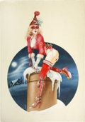 Illustration:Pin-Up, CHRIS ACHILLEOS (English, b. 1947) . Christmas Siren, 1979,original pin up painting . Mixed-media on board . 30 x 21in....