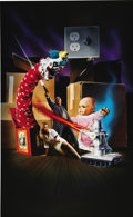 "Illustration:Advertising, AMERICAN ILLUSTRATOR (20th Century) . Original ""Dollman vs. DemonicToys"" movie poster illustration, circa 1993 . Mixed-medi..."