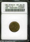 Lincoln Cents: , 1909-S VDB 1C AU50 Brown--Scratched, Cleaned--ANACS, UNC Details....