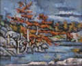 Texas:Early Texas Art - Modernists, LOREN MOZLEY (1905-1989). Autumn, Pedernales. Oil on canvas.16 x 20 inches (40.6 x 50.8 cm). Signed lower left. Titled ...