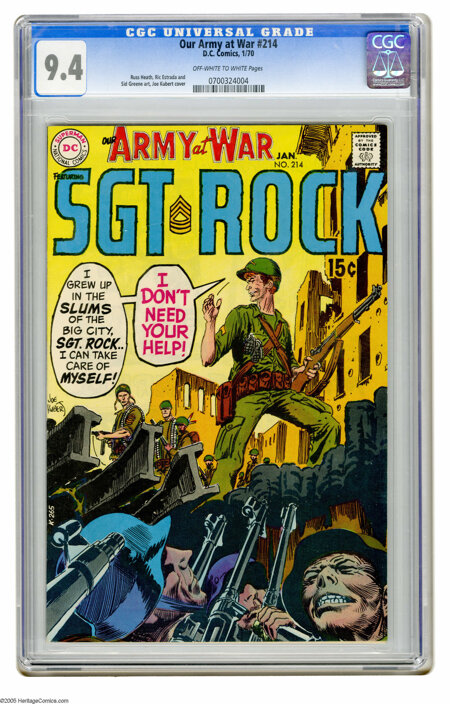 Our Army at War #214 (DC) CGC NM 9.4 Off-white to white pages. Sgt. Rock appears. Joe Kubert cover art. Russ Heath, Sid Gree... (1 )
