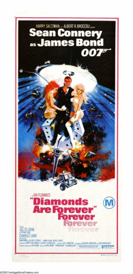 """Diamonds Are Forever (United Artists, 1971). Australian Daybill (13"""" X 30""""). The last official outing of Sean..."""