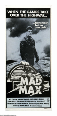 """Mad Max (Roadshow Film Distributors, 1979). Australian Daybill (13.5"""" X 30""""). The first of the series that mad..."""
