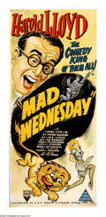 """Movie Posters:Comedy, Mad Wednesday (RKO, 1947). Australian Daybill (13"""" X 30""""). Nine years after making """"Professor Beware,"""" Harold Lloyd was lure..."""