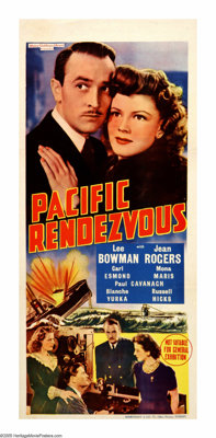 "Pacific Rendezvous (MGM, 1942). Australian Daybill (13"" X 30""). Lee Bowman plays a Naval Intelligence officer..."