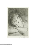 Texas:Early Texas Art - Drawings & Prints, Mary Bonner (1887-1935) Day Dreaming Etching 7 1/2 x 5 1/2in.Signed lower right: Mary Bonner Brian Roughton: Fi...