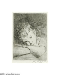 Mary Bonner (1887-1935) Day Dreaming Etching 7 1/2 x 5 1/2in. Signed lower right: Mary Bonner  Brian Roughton: Fi