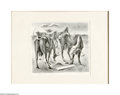 Texas:Early Texas Art - Drawings & Prints, Emily Rutland (1890-1983) Cattle Waking Up In The MorningLithograph 9 x 10in. Signed lower right: Emily Rutland ...