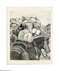 Paintings, Merritt Mauzey (1897-1973). Circuit Rider. Lithograph. 17 x 14in.. Signed lower right: Merritt Mauzey. Titled recto: C...