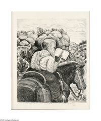 Merritt Mauzey (1897-1973) Circuit Rider Lithograph 17 x 14in. Signed lower right: Merritt Mauzey Titled recto: C