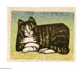 Texas:Early Texas Art - Drawings & Prints, Thomas Stell (1898-1990) Considering Cat, 1968 Block print onhand-made paper 10 x 13in. Signed lower right: Stell '68...