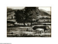 Texas:Early Texas Art - Drawings & Prints, Peter Hurd (1904-1984) Hondo Valley Landscape Pen and ink 7 x 10in.Signed lower right: Peter Hurd Inscribed verso:...