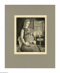 Kelly Fearing (1918- ) The Collector, 1945 Etching and aquatint 8 x 9 1/2in. Signed lower right: Kelly Fearing, 1945&...