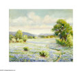 Texas:Early Texas Art - Impressionists, Maude Work (1883-1943) Bluebonnets Oil on canvas board 14 x 17in.Signed lower right: Maude Work Inscribed verso: ...