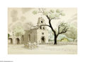 Texas:Early Texas Art - Impressionists, Glen Boyles Mission San Francisco de la Espada, 1964 Watercolor onpaper 20 x 29in. Signed lower right: Glen Boyles '6...