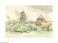 Texas:Early Texas Art - Impressionists, Glen Boyles Missions San Jose, 1964 Watercolor on paper 20 x 29in.Signed lower right: Glen Boyles '64 Brian Rou...
