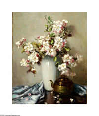 A.D. Greer (1904-1998) Dogwood and Brass Oil on Canvas 20 x 16in. Signed lower right: A.D. Greer  Brian Roughton: