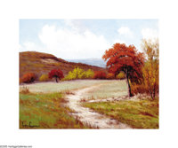 Pedro Lazcano Hill Country in Autumn Oil on canvas 16 x 20in. Signed lower left: Pedro Lazcano  Brian Roughton:
