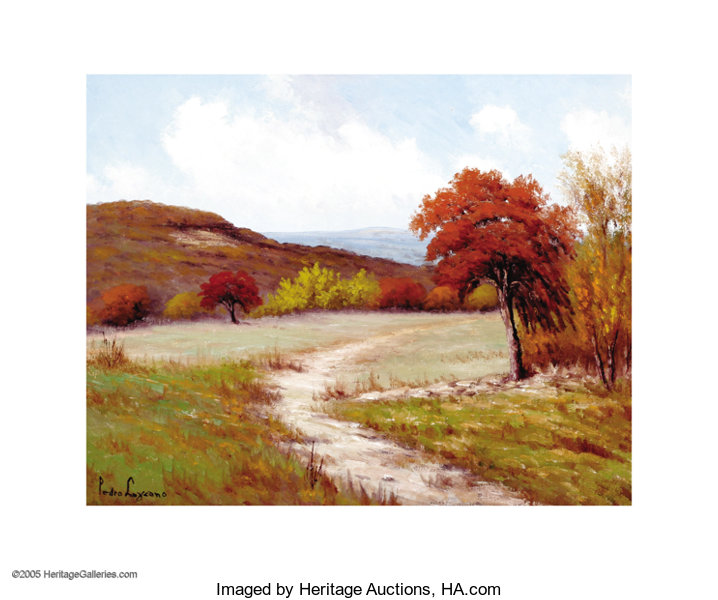 ... Texas Early Texas Art - Impressionists, Pedro Lazcano Hill Country in  Autumn Oil on ... 27ddbcd8c3