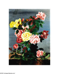 Texas:Early Texas Art - Impressionists, Carl Hoppe (1897-1981) Roses, 1914 Oil on canvas board 12 x 9in.Signed lower right: C. Hoppe 1914 Provenance: Est...