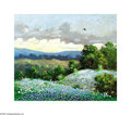 Paintings, Carl Hoppe (1897-1981). Bluebonnets and Oaks, Kerrville, Texas, 1966. Oil on artist board. 12 x 14in.. Signed lower right: ...
