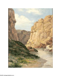 Texas:Early Texas Art - Impressionists, U.W. Fisher (1887-1970) Santa Elana Canyon, Big Bend Park Oil on canvas board 16 x 12in. Signed lower right: U.W.F. ...
