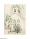 Texas:Early Texas Art - Impressionists, Dawson Dawson-Watson (1864-1939) Church and Steeple, 1932Watercolor 14 x 10in. Signed lower right: Dawson-Watson '32 ...
