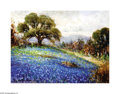 Texas:Early Texas Art - Impressionists, Rolla Taylor (1871-1970) Bluebonnets and Oaks Oil on canvas board 9x 12in. Signed lower left: Rolla Taylor Provena...