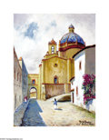 Texas:Early Texas Art - Impressionists, Rolla Taylor (1871-1970) Cathedral Taxco, 1935 Oil on artist board20 x 15in. Signed lower right: Rolla Taylor 1935 Ta...