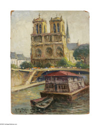 Rolla Taylor (1871-1970) Notre Dame Cathedral, Paris, France, 1929 Oil on masonite 16 x 12in. Signed lower left: Rolla...