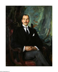 Texas:Early Texas Art - Impressionists, Wayman Adams (1883-1959) Seated Portrait of Mr. Schneider Oil onlinen 41 x 52in. Signed lower left: Wayman Adams ...