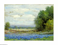 Texas:Early Texas Art - Impressionists, G. Day (Robert Wood) (1889-1979) Hill Country Bluebonnets, c.1930sOil on canvas 12 x 16in. Signed lower left: G. Day ...