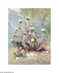 Dawson Dawson-Watson (1864-1939) Prickly Pear in Bloom, 1935 Oil on canvas 21 x 16in. Signed lower right: Dawson-Watso...