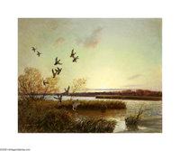 Reveau Bassett (1897-1981) Ducks at Sunrise, 1953 Oil on canvas 24 x 30in. Signed lower left: Reveau Bassett '53